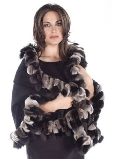 Cashmere Wrap-Chinchilla Rex  Black Fox Plus Size