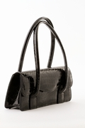 Black Patent Leather Handbag -  Crocodile Pattern
