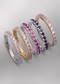 Diamond Rose Gold Sapphire Ruby Stackable Rings