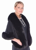 Black Cashmere Stole - Fox Trimmed