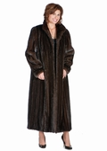 Classic Wing Collar-Female Mahogany Mink Coat Plus