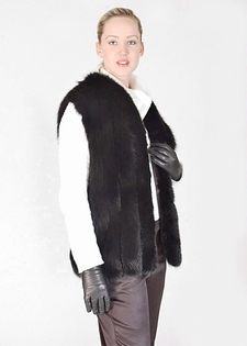 Fox Fur Vest-Black Fox Fur V Neck Vest