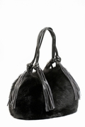 Black Fox Handbag-Fringed Leather Handle