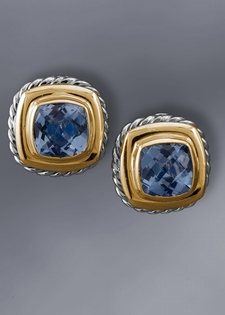 Gold Earring-Blue Topaz and Gold Cable Earrings