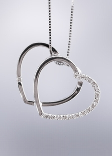Diamond and Gold Pendant Necklace-Double Heart