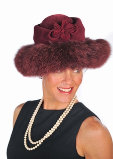 Fox Trimmed Hat - Raspberry Rose Large Brim