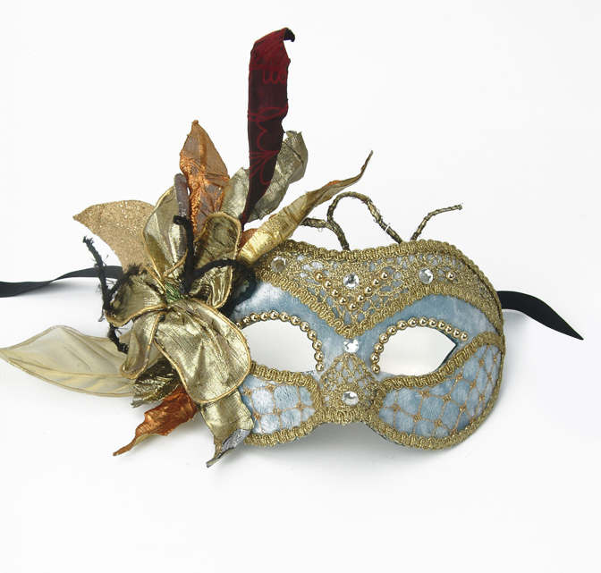 Party Mask - Flowers and Lace Blue Velvet