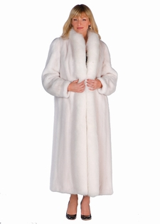 White Mink Full Length Coat-White Fox Trimmed