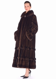 Mink Fur Coat - Mahogany Mink Coat Double Rosette