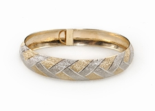 14K Gold Two Tone Brushed Bangle
