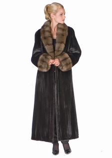 Sable Collar and Cuffs - Natural Ranch Mink Coat 
