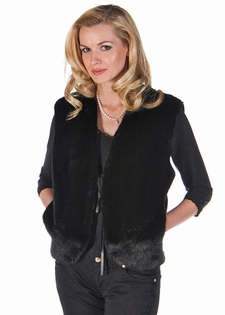 Mink Vest - Ranch Mink and Black Leather Vest