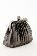 Black Soft Mesh Evening Bag - Crystal Ball Clasp