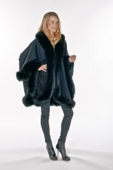 100% Cashmere Cape - Black Fox Trimmed