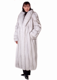 Natural Blue Fox Fur Coat w/ Shawl Collar