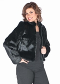 Black Zippered 20 Jacket-Black Rabbit-Plus Size