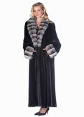 Chinchilla Shawl Collar and Cuffs-Ranch Mink Coat