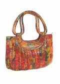 Miraflores Floral Leather Pleated Handbag