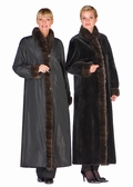 Sheared Mink Coat Sable Trim- Reversible to Fabric