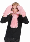 Knitted Fur Scarf and Glove Set - Petunia Pink
