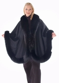 Black Fox Trimmed Plus Size Cashmere Cape