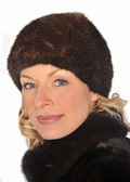 Mahogany Mink Knitted Fur Stretch Hat