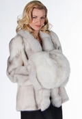 Blue Fox Fur Muff - Blue Fox Fur Handwarmer Muff
