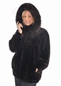 Sheared Beaver Jacket-Dark Brown Fox Trimmed Hood