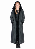 Sheared Mink Hooded Reversible Coat-Black Mink