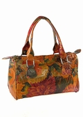 Miraflores Floral Leather Boston Bag Handbag