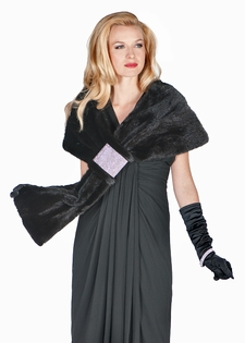 Mink Cape-Swarovski Crystal Accent-Black Mink Wrap