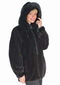Mink Jacket - Zippered Ranch Mink Fox Trimmed