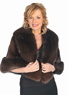 Mink Cape - Mahogany Mink Brown Fox Trim