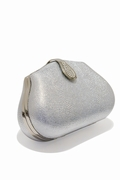 Silver Leather Evening Bag Austrian Crystal Clasp
