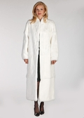 White Fur Coat - Mandarin Collar- White Rabbit Fur