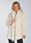 White Rabbit Fur Jacket Reversible-Fur  Trim