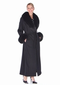 Cashmere Coat-Black Fox Trim- Black Cashmere