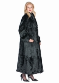 Black Rabbit Fur Coat-Mandarin Collar- Plus Size