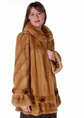 Mink Fur Jacket - Golden Mink Ruffles and Rosettes