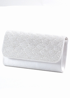 White Satin Beaded Evening Bag-Bridal Evening Bag