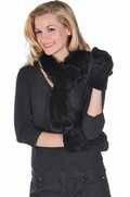 Knitted Fur Scarf and Glove Set - Black