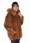 Hooded Fur Mink Parka - Fox Trimmed