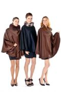 Cashmere Wrap Cloak -  Chinchilla Collar