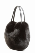 Fur Bag - Black Fox Hobo Handbag
