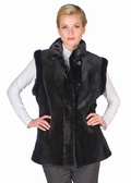 Sheared Mink Vest Reversible to Fabric-Black