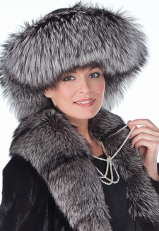 Silver Fox and Mink Fur Hat-Large Brim Fur Hat