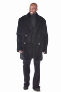 Mens Fur Car Coat - Black Ranch Rabbit