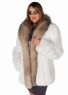 White Fox Fur Jacket -  Crystal Fox Trim