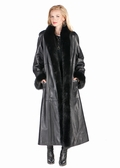 Black Leather Coat with Fur Lining Fox Trim