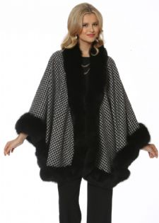 Houndstooth Cashmere Cape - Black Fox Trim